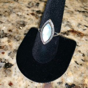 Beautiful Mother of Pearl Silver Ring Size 8